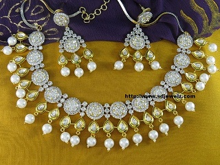 kundan studded american diamond necklace set