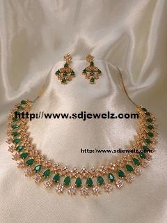 stone studded american diamond necklace set