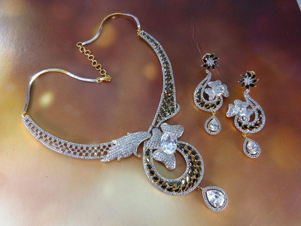 designer cz necklace set