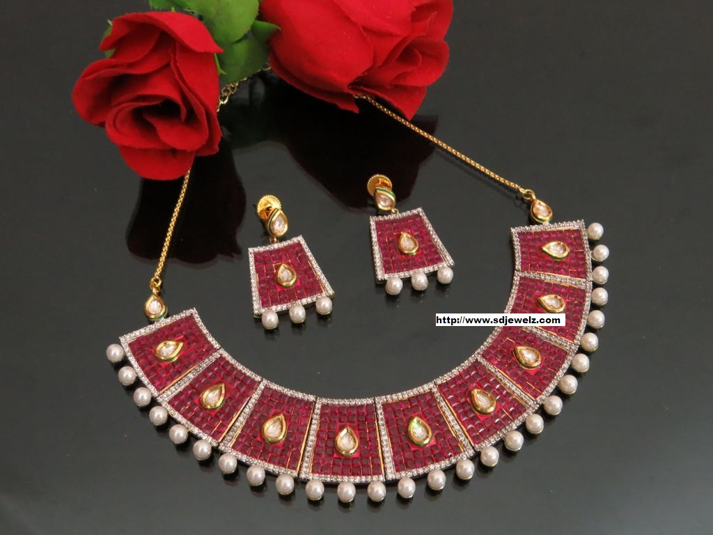 kundan studded cz necklace set