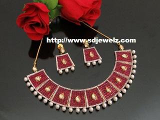 kundan studded cz necklace set
