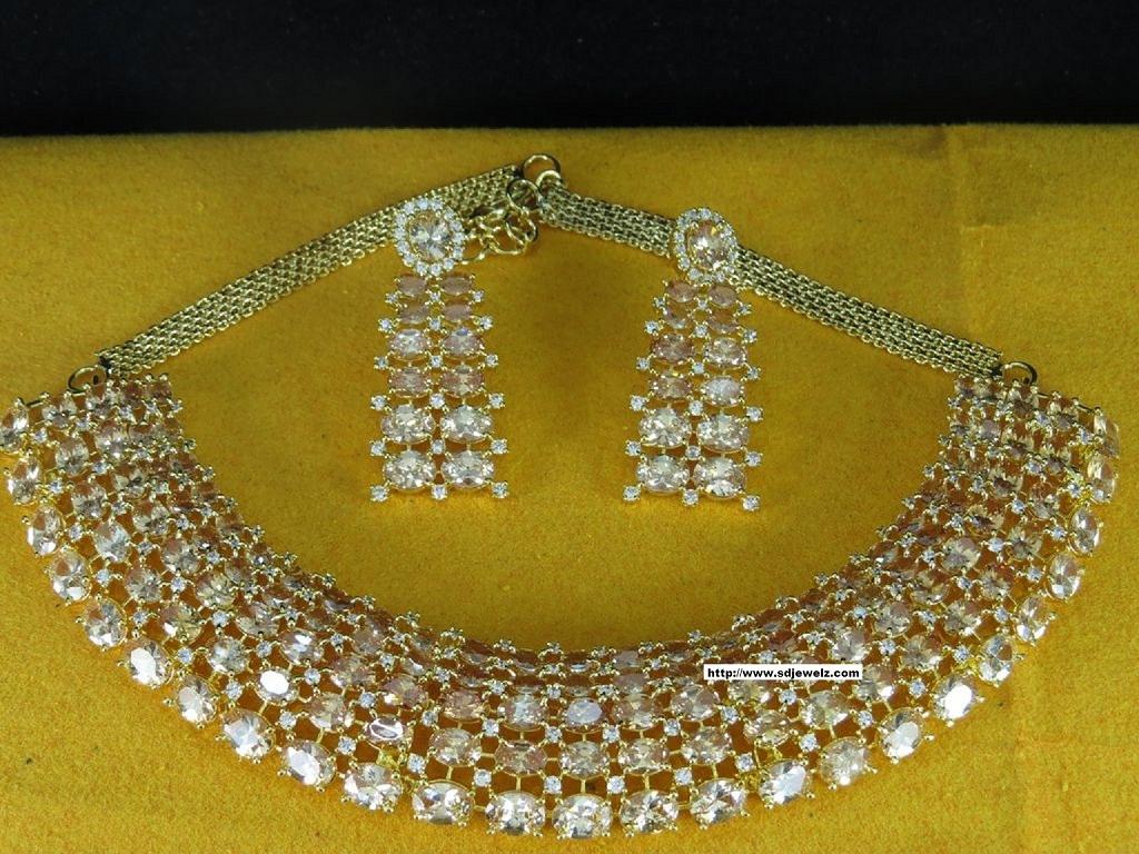 stone studded cz necklace set