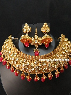 kundan bridal set in gold and red