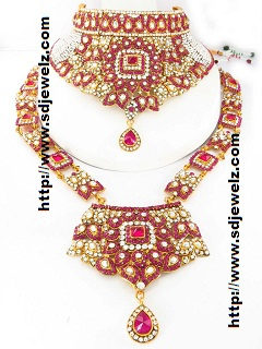 pink stone bridal jewellery