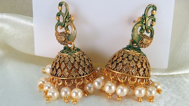 meenakari peacock jhumka style earrings