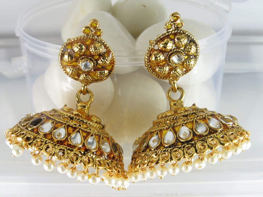 traditional gold plated jhumka earring