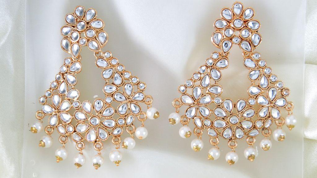 white flower chandbali earring