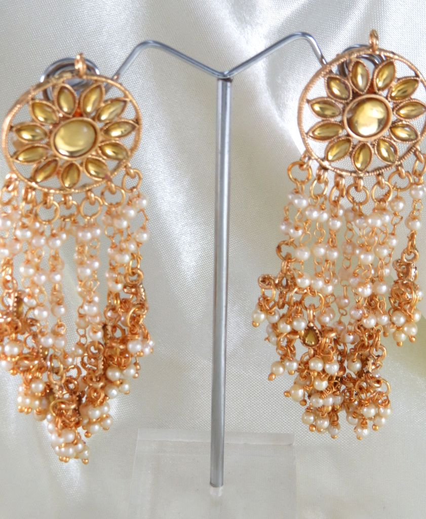 yellow floral embellished earrings