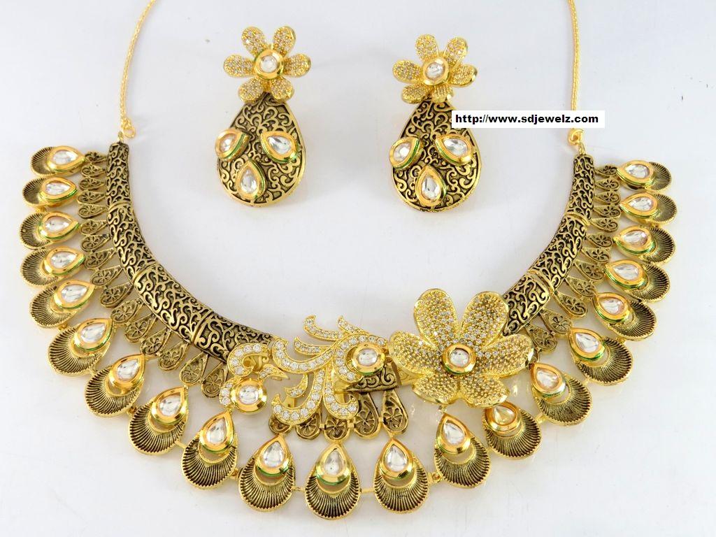 Indian jewelry cz kundan designer necklace set