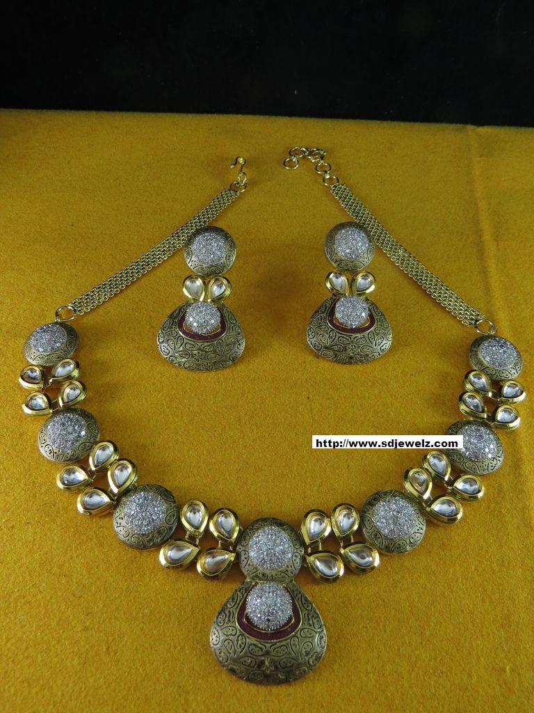 Indian jewelry cz kundan necklace set