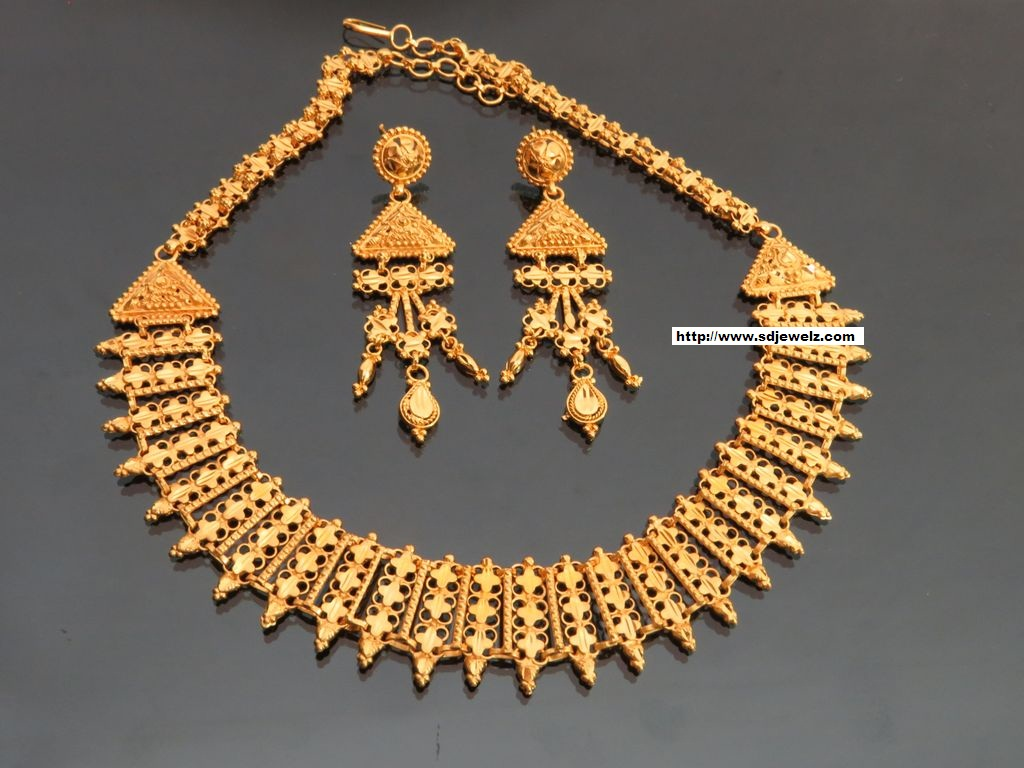 Indian jewelry gold plated necklace set