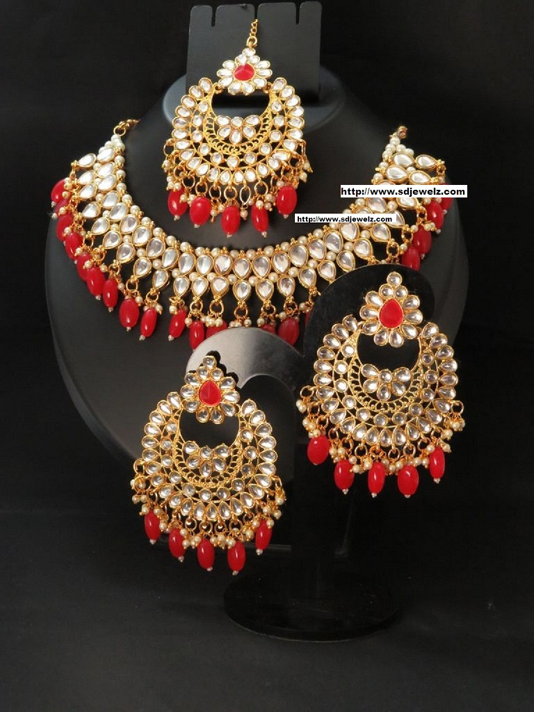 Indian jewelry red moti jewellery