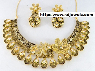 cz kundan designer necklace set