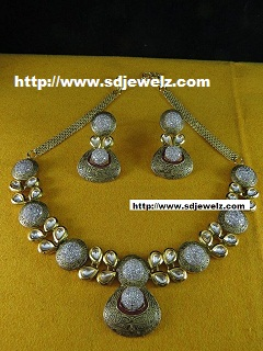 cz kundan necklace set