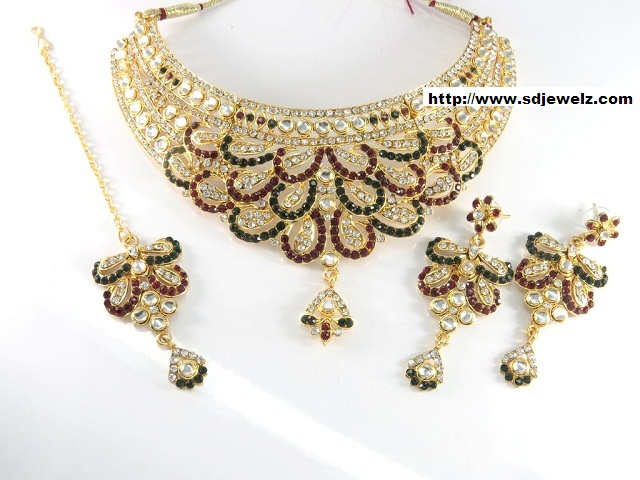 stone studded kundan necklace set