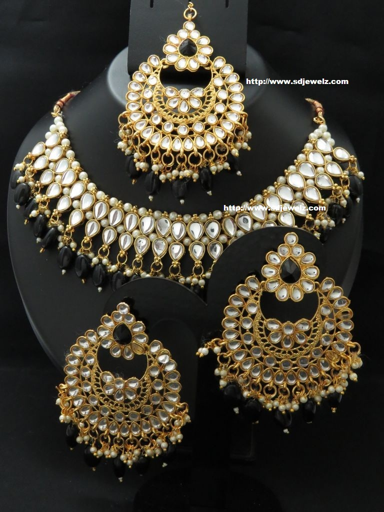 kundan necklace set in black