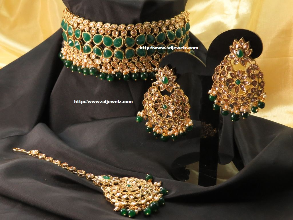 kundan necklace set in green