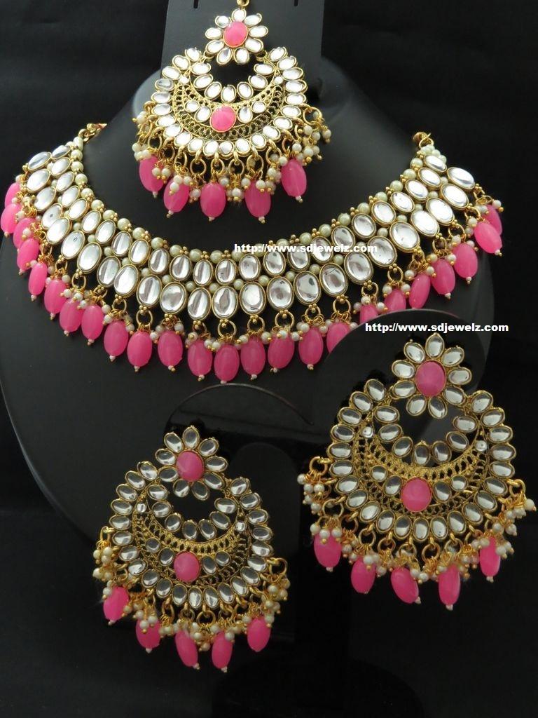 kundan necklace set in pink