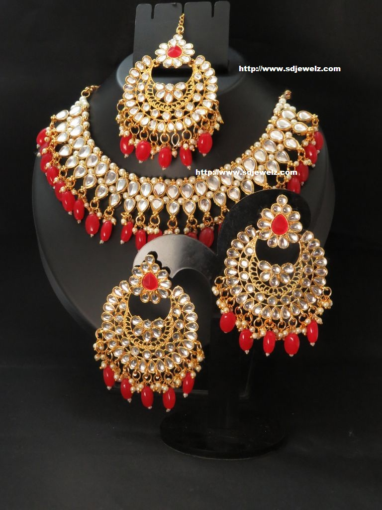 kundan necklace set in red