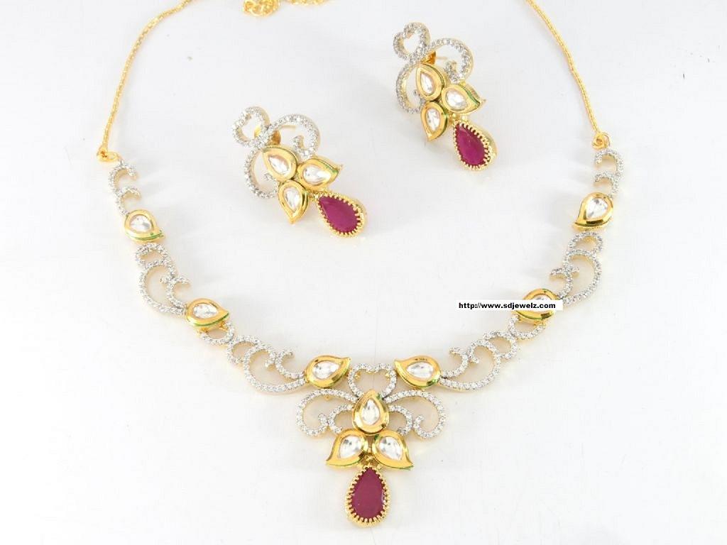 cz kundan necklace set