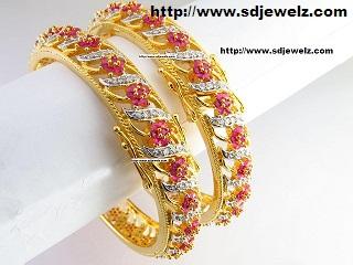 gold cubic zirconia bangles