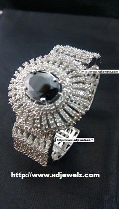zircon bangle bracelet in black