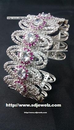 zircon bangle bracelet in pink