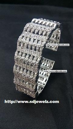 zircon bangle bracelet in silver