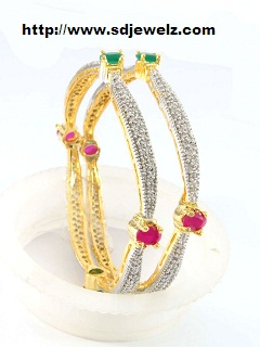 gold zircon bangles
