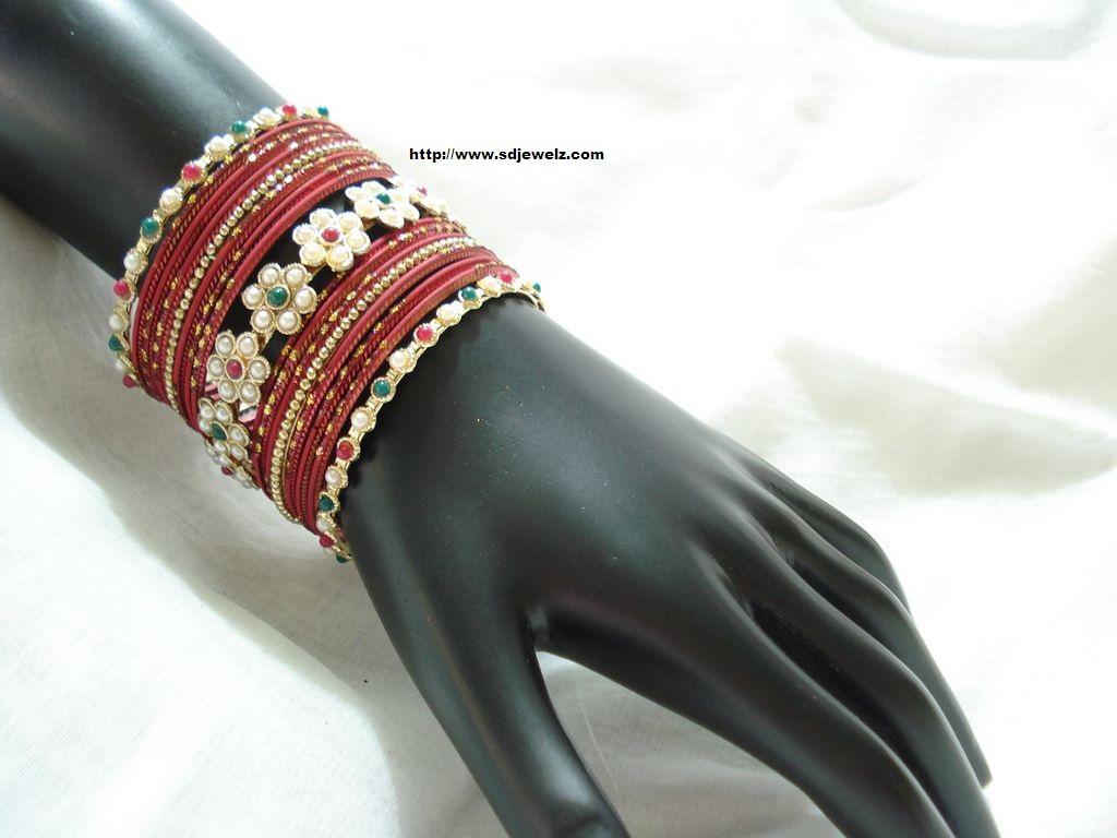 metallic bangle set in red
