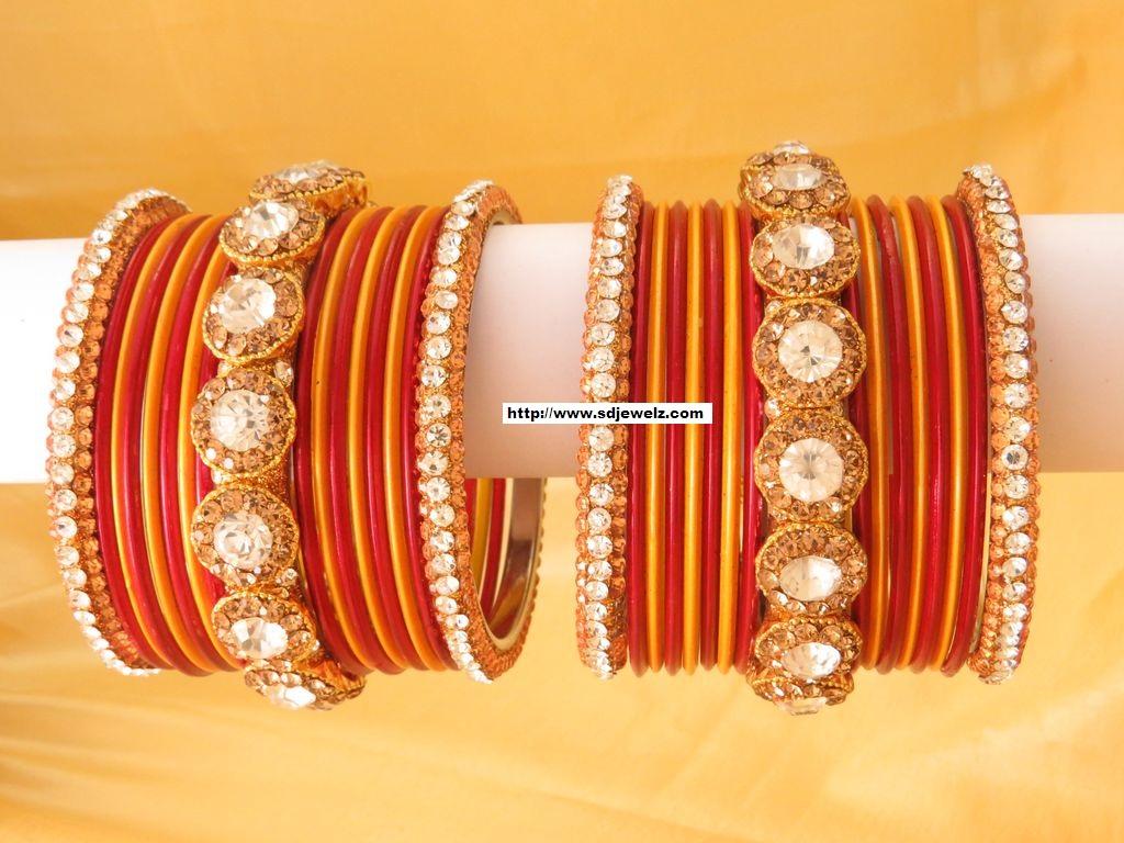 stone studded bangle set